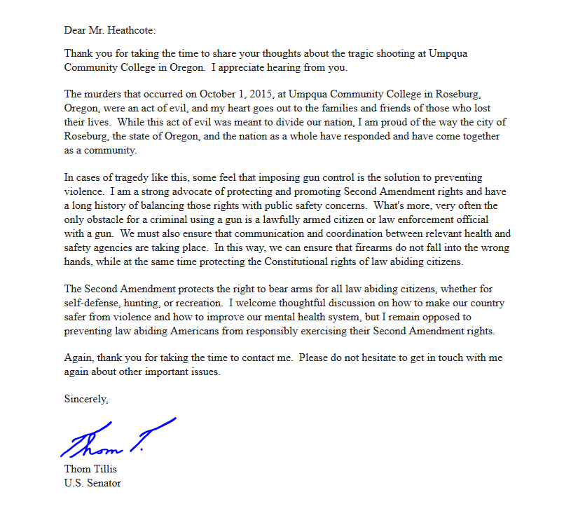 Email from Thom Tillis on 2nd Amendment Rights and Gun Control in the wake of Umpqua Community College shooting