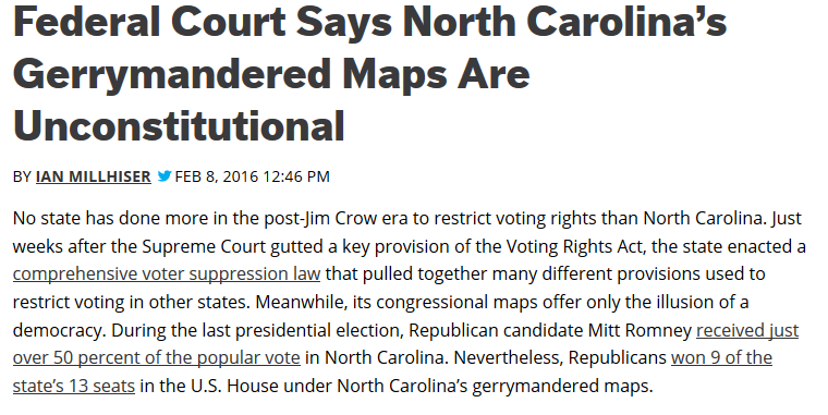 ThinkProgress NC Gerrymandering Lawsuit Headline