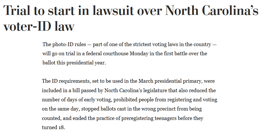 Washington Post NC Voter ID Lawsuit excerpt